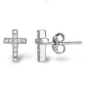 SPOIL CUPID Rhodium Plated 925 Sterling Silver CZ Simulated Diamond Mini Crucifix Cross Stud Earrings