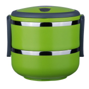 1.4 L Stacking Lunch Box- Insulted Lunch Containers Compartment Lunch Box Round Two Tier Tiffin with Vacuum Seal Lid and Stainless Steel Interior Lunch Boxes Portion Control Green