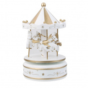 Wooden Merry-Go-Round Carousel Wind Up Music Box Kids Gift-White