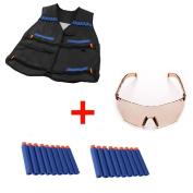 Yosoo Elite Tactical Vest Jacket + 20 Refill Soft Darts Bullets + Protective Goggles for Nerf Gun N-Strike Elite Series Pistol Foam Bullets Toy Guns