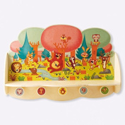 Dida - Hanger great wall bracket and 5 knobs in wood with delicious animals of the forest.