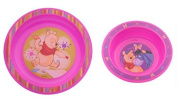 Set Of 2 : Baby Eating bowl + Eating learning plate Disney Winnie Pooh pink