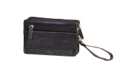 Leather Wrist Bag Clutch Mens Travel Black Cab Money Organiser Mobile Bag A82