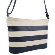 Ladies Medium Leather Shoulder Cross Body BAG by Blousey Cream Navy Handbag