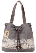 PB-SOAR Women's Ladies Fashion Casual Canvas Drawstring Handbag Tote Bag Shoulder Bag