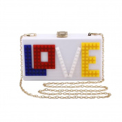 ANDAY Women's Rectangular Acrylic Lucite LOVE Evening Bag Party Clutch Handbag White