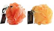Hydrea High Quality Exfoliating Bath & Shower Body Puff/Scrunchie /Buffer Orange & Yellow Duo