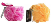 Hydrea High Quality Exfoliating Bath & Shower Body Puff/Scrunchie /Buffer Pink & Yellow Duo