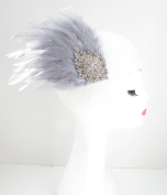 Grey & Silver Feather Fascinator Headpiece Races Diamante Hair Clip Vintage Y44 *EXCLUSIVELY SOLD BY STARCROSSED BEAUTY*