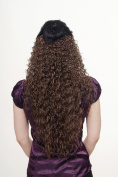 WIG ME UP ® Hairpiece Halfwig (half wig) 7 Microclip Clip-In Extension very long stringy crimpy curls curly latin shiny oily wet-look huge volume H9311-10