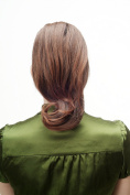 WIG ME UP ® - Hairpiece Ponytail with Claw Clamp/Clip very full and voluminous but straight with curving ends brown mix chestnut NC004-2T30 30 cm