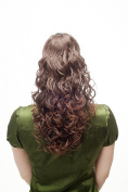 WIG ME UP ® - Hairpiece Ponytail with Claw Clamp/Clip long very full and voluminous stringy wetlook curly curls brown mix chestnut NC002-2T30 45 cm