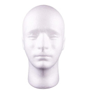JaneDream Man Styrofoam Head Mask Stand Model Display Wig Hats Holder Foam Mannequin White