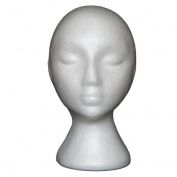 JaneDream Styrofoam Foam Mannequin Female Head Model Dummy Wig Glasses Hat Display Stand