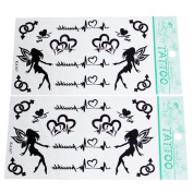 2 Sheets Black Heart Pattern and Letter Temporary Tattoos Stickers Sexy Body Art