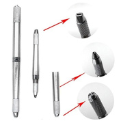 HuntGold Double-Ended Permanent Eyebrow Tattoo Pen Manual Handheld Tattooing Pencil Silver