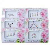 Banithani Pack Of 6 Pcs Multicolour Bindi Stickers Temporary Tattoo Forehead Accessory