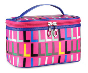 HOYOFO Portable High Capacity Cosmetic Bag With Classic One Thousand Jager Pattern,Red