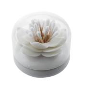 White Lotus Shape Cotton Swab Holder Cotton Bud Toothpicks Storage Organiser Case Box for Bathroom