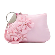 Zarapack 3D Flower Women Wristlet Style Cosmetic Makeup Bag Travel Toiletry Organiser Purse