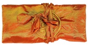Orange Embroidered Silk Make Up Bag/ Wrap /Jewellery Roll