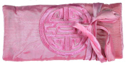 Baby Pink Embroidered Silk Make Up Bag/ Wrap /Jewellery Roll