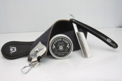 Professional Barber Shaving Set Leather Strop With Paste & Straight Cut Razor