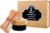 DUCKBUTTER Beard Brush & Comb Boxed Gift Set - Made from 100% Genuine Peach Wood & Natural Boar Bristles - 2.25 cm Bristles & Teeth for Facial Grooming