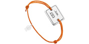 Clio Blue Cord Bracelet with Sterling Silver 'Love', Orange, 4.5g