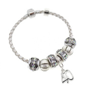 40th Birthday Leather Charm Bracelet Pandora Style Gift Boxed 19cm