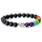 JOVIVI 7 Chakra Matte Agate Yoga Balancing Reiki Healing Elephant Lucky Charm Bracelet