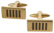Gold Plated and Black Enamel Rectangle Cufflinks