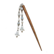Brown Wood Hair Stick w Blue Amazonite & Lucite Flowers