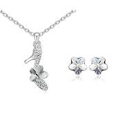 ZiZi Crystal Flower Shoe Necklace & Earring Set ~ Dazzling White ~ Organza Gift Bag ~ Fast .