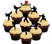 Karate Party Pack Edible Cupcake Toppers - Stand-up Wafer Cake Decorations