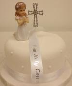 Cake Decoration First Holy Communion Praying Girl Diamante Cross and Ribbon Cake Topper Set