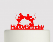 Mickey Mouse and Minnie Mouse Kissing Happy Birthday - Acrylic Cake Topper - Red Acrylic