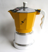 Top Moka Top 6 Cup Stove Top Espresso Coffee Maker Pot in Yellow and Silver