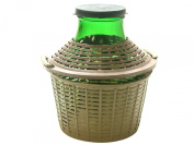 Home, glass demijohn with plastic basket, Green/Brown, 5 lt
