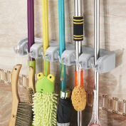 Gearmax® Wall Mounted Brush Broom and Mop Holder / Magic Holder Storage Tidy Organiser 5 Positions 6 Hooks Wall Rack