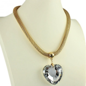 Chunky large diamante crystal heart pendant costume jewellery gold choker necklace