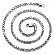"AmyRT Jewellery 4mm Titanium Steel Wheat Silver Chain Necklaces for Men & Women 16"" -30"""