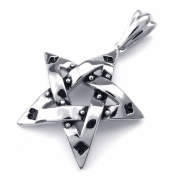 TEMEGO Jewellery Men¡¯s Stainless Steel Classic Vintage Pendant Pentagram Necklace Chain, Black Silver