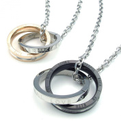 TEMEGO Jewellery Women¡¯s Men¡¯s 2pcs Stainless Steel Couples Lovers Vintage Round Circle Pendant Love Necklace Set, 20 and 60cm Chain, Black Golden