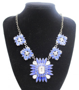Ladies Colourful Blue Flower Style Jewel Statement. Crystal Bib Choker Collar Necklace
