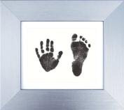 BabyRice Baby Handprint Footprint Kit 15cm x 13cm Silver Display Frame Black Prints