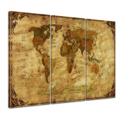 """Bilderdepot24 Wall Art - Canvas Picture """"World map - worldmap II retro frame"""" 90cm x 60cm 3 pieces - Gallery wrapped, directly from the manufacturer"""