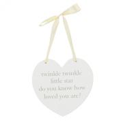 Bambino MDF Wall Hanging Heart Plaque Baby Gift - Twinkle Twinkle
