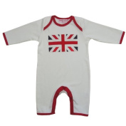 Powell Craft Union Jack Baby Romper, Babygrow in soft cream 100% cotton with embroidered and patchwork design