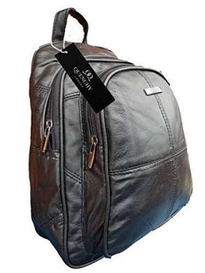 Leather Backpack Bags - Luxury Soft Black Sheep's Nappa Rucksack - Small Size Handbag Backpacks - Fully Nylon Lined - Small Leather Back Pack Handbag - 30cm x 26 x 15 - Quenchy London QL958